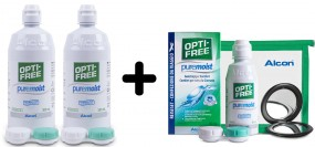 OPTI-FREE pure moist Super-Spar-Set: 2 x 300ml & 1 x 90ml Reise-Set gratis