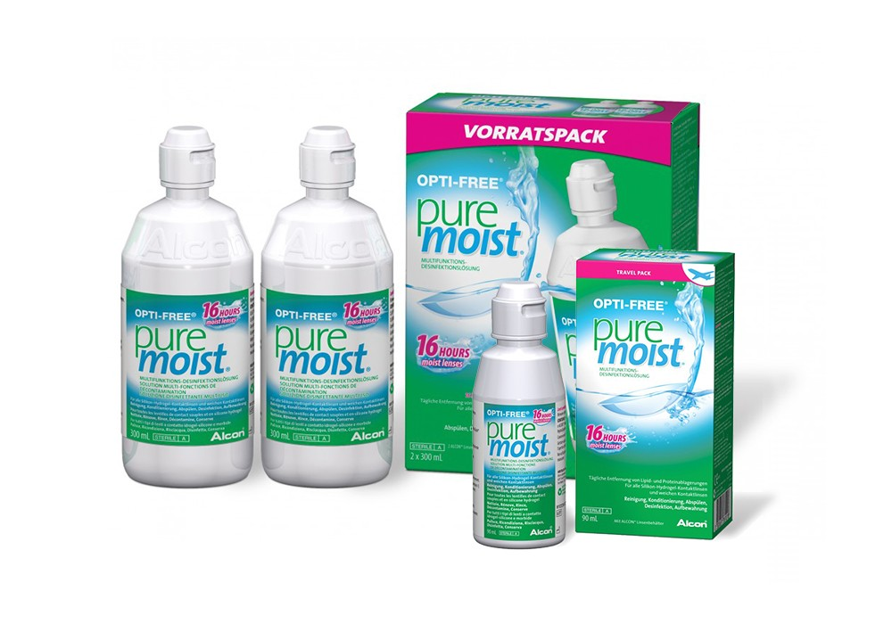 OPTI-FREE pure moist Travel-Pack - 2 x 300ml & 1 x 90ml